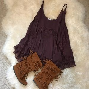 Free People She Swings Purple Slip Dress Sz Medium